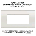 PLACCA 1007-1 7P BIANCA/LGT TECNOPOLIMERO Compatibile con serie Living International/Light.